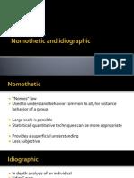 Nomothetic vs Idiographic