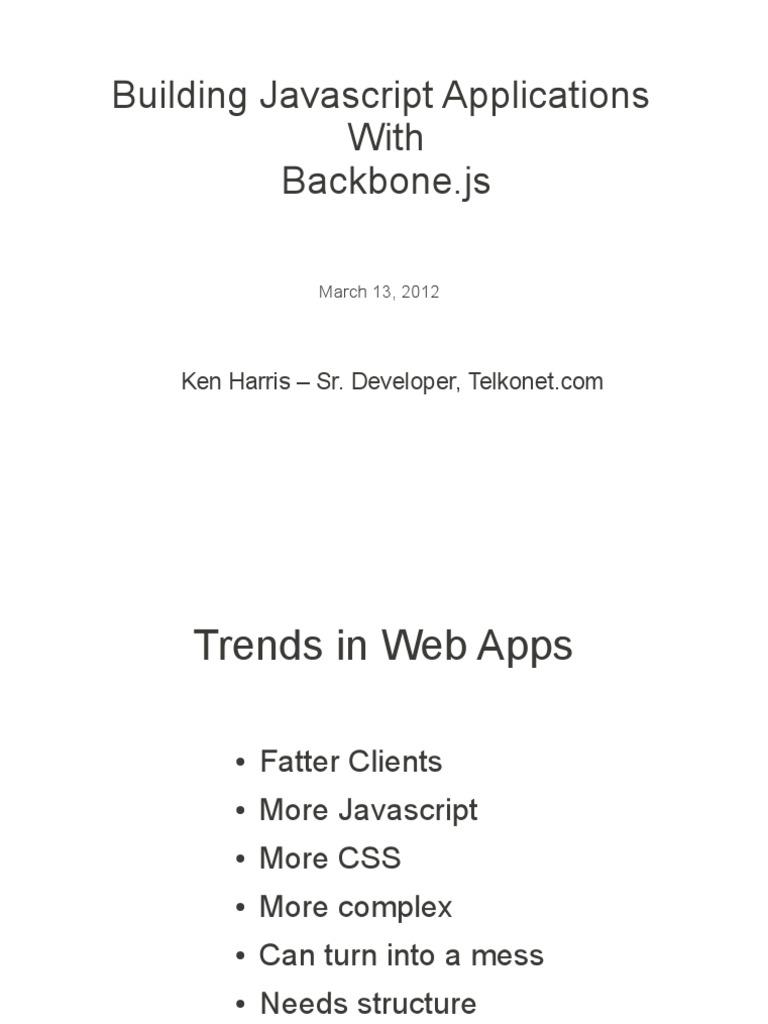 Building Backbonejs Modelviewcontroller Java Script