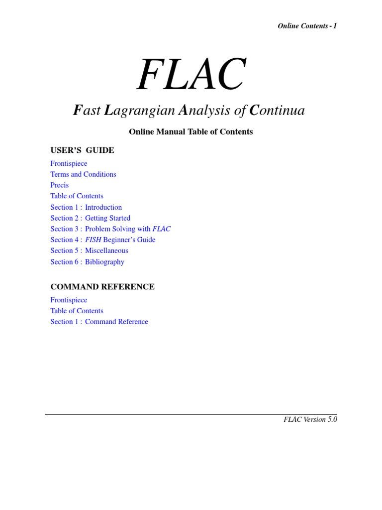 flac manual rh es scribd com Itasca Consulting Group FLAC Software