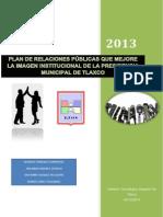 Plan de Relaciones Públicas Que Mejore La Imagen Institucional de La Presidencia Municipal de Tlaxco
