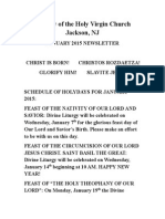Nativity of the Holy Virgin Church - Newsletter - January, 2015