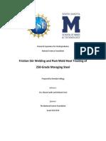 Friction Stir Welding and Post-Weld Heat Treating of Maraging Steel [Final Report] (1)