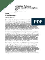 Implikasi Teori Lokasi Terhadap Penentuan Lokasi Industri Di Kompleks SIER Surabaya