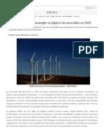 España, En Peligro de Incumplir Objetivo de Renovables 2020