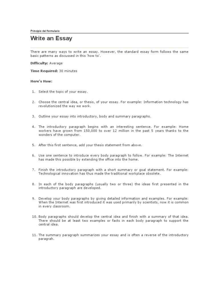 how to write an essay como escribir un ensayo en ingl atilde copy s