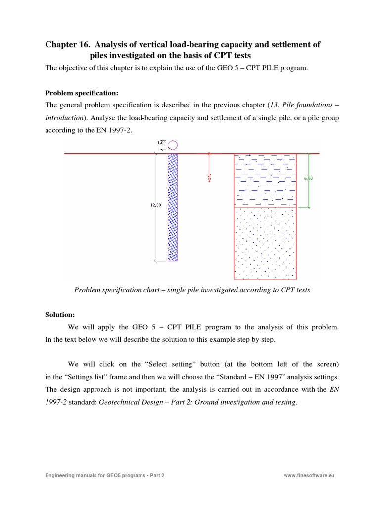 16 Analysis of Vertical Load Bearing Capacity and Settlement