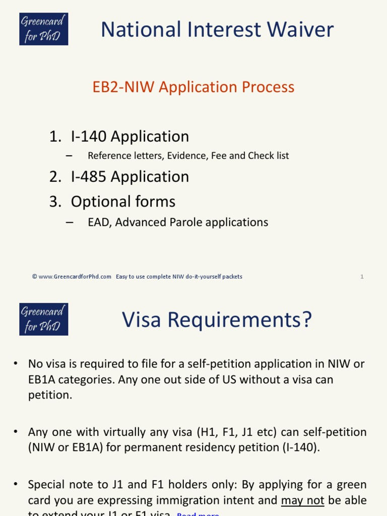Niw Application Process Permanent Residence United States