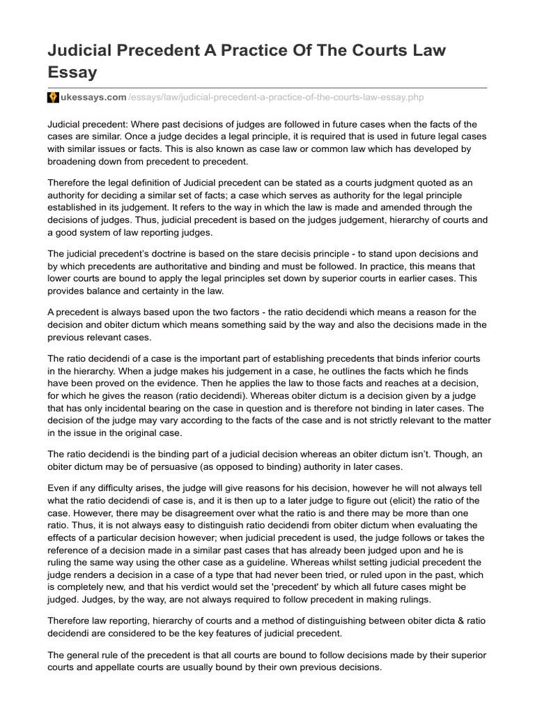 Judicial precedent good essay