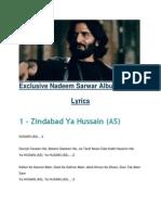 Lyrics 2015 Nadeem Sarwar Vol 35 Zindabad Ya Hussain (a.s)