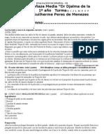 AVALIACION de ESPANOL Primeiro Ano Setembro 2014
