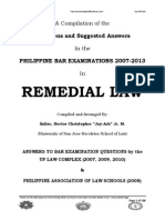 2007-2013 REMEDIAL Law Philippine Bar Examination Questions and Suggested Answers (JayArhSals)