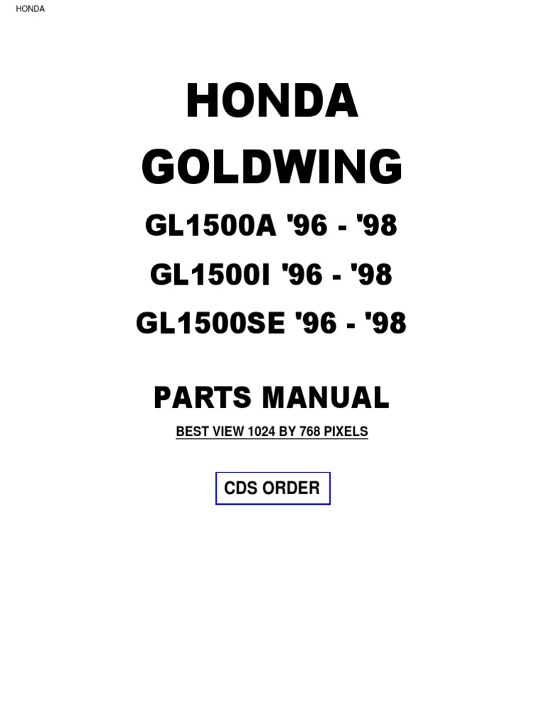 Honda Goldwing GL1500 1996 to 1998 Honda Parts Manual