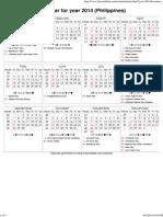 Year 2014 Calendar – Philippines