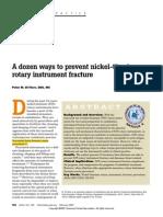 PEAK a Dozen Ways to Prevent Nickel-Titanium Rotary Instrument Fracture
