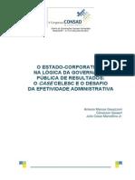 O Estado Corporatista Na Lógica Da Governança Pública de Resultados o Case Celesc e o Desafio Da Efetividade Administrativa