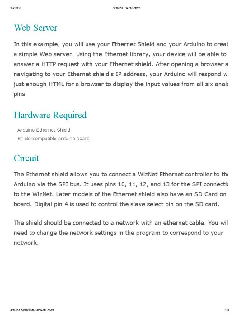 Arduino - WebServer | Web Server | Hypertext Transfer Protocol