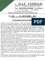 Lettera alle Famiglie - 28 dicembre 2014
