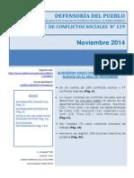 Reporte Mensual de Conflictos Sociales N 129 Noviembre 2014