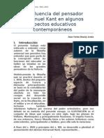 La influencia del pensador Immanuel Kant en algunos aspectos educativos contemporáneos