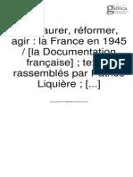 Restaurer Reformer Agir- la France en 1945