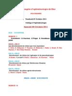 Programme 22ème Congrès d'Ophtalmologie de SFAX (Le 7 Et 8 Octobre 2011)