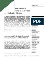 Bienestar Socioemocional en Contextos Escolares La Percepción de Estudiantes Chilenos