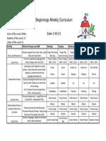 Weekly Curriculum Jan 5-9 2015