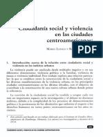 Ciudadanía Social y Violencia en Las Ciudades Centroamericanas