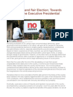 Ensure Free and Fair Election Towards Abolishing the Executive Presidential System