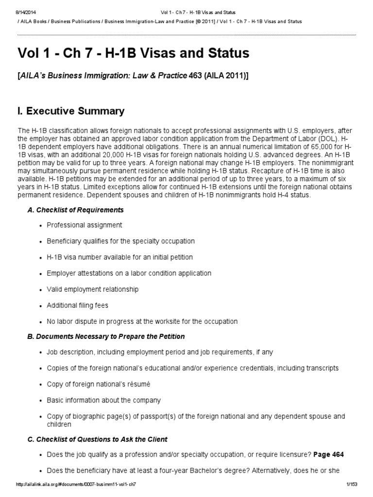 H-1B Business Immigration | H 1 B Visa | Labour