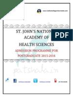 St. John's PG Medical Entrance Exam 2015 St. John's Medical College