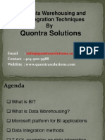 MSBI,Data Warehousing & data IntegrationTechniques by Quontra