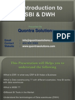 An Introduction to  MSBI & DWH by QuontraSolutions