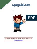 General Awareness for Ibps Clerk 2015