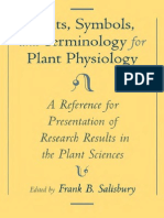 Units, Symbols, And Terminologys for Plant Physiology