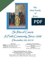 Saint Rita Parish Bulletin 12/28/2014