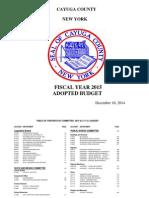 Cayuga County 2015 Adopted Budget