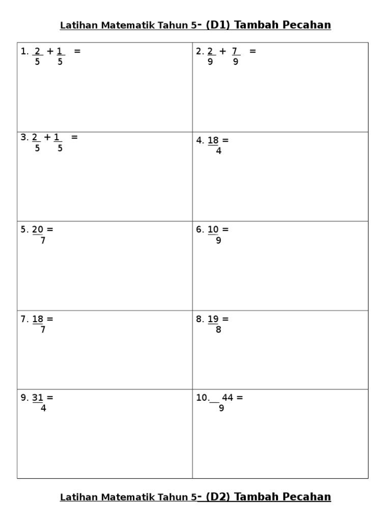 Latihan Matematik Tahun 5 Tambah Pecahan D1 N D2