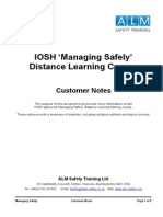 ALM Safety Training IOSH Managing Safely Customer Notes