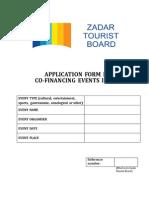 Zadar Tourist Board Application Form 2015