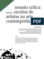 A dimensão critica dos escritos de artistas na arte contemporânea