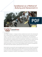 Thuggery (Chandikama) as a Method of Intimidation, Bullying and Harassment in the South