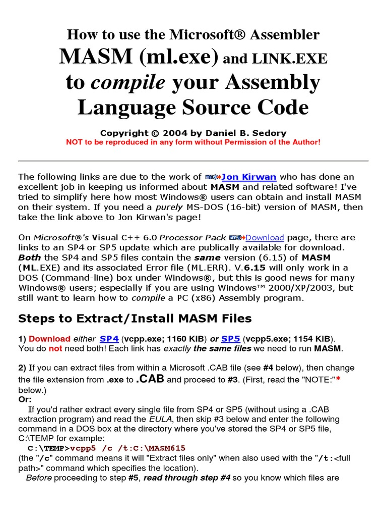 How to Use the Microsoft MASM&LINK exe | Assembly Language