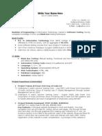 Fresher Testing Resume Template