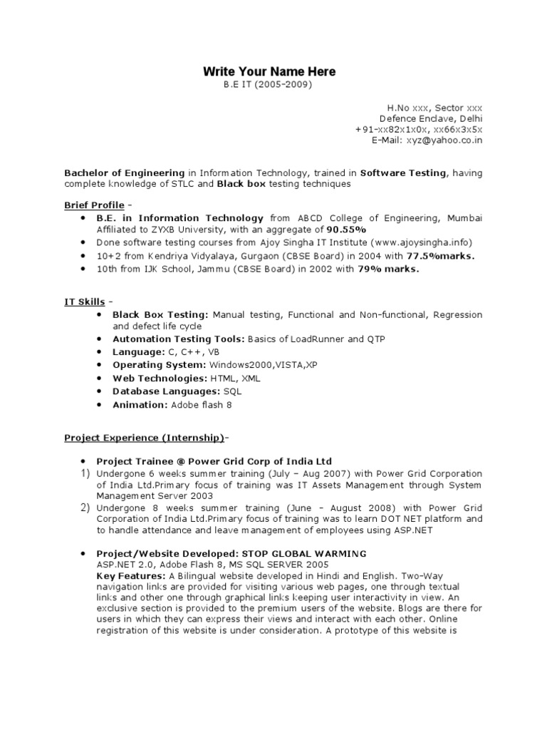 Resume Of Software Tester Zrom