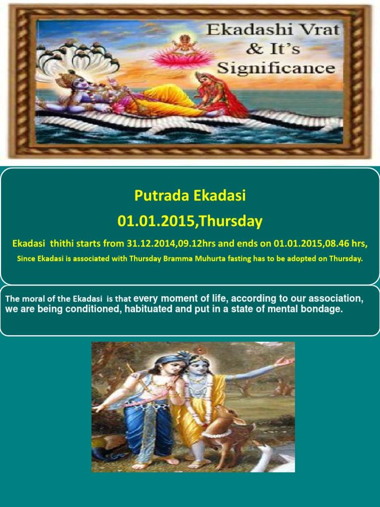 Putrada Ekadasi 01 01 2015,Thursday: Ekadasi thithi starts