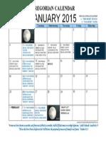 January 2015 Lunisolar-Gregorian Calendar