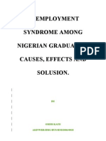 Unemployment Syndrome Among Nigerian Graduates