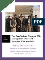CBO Management Training Report