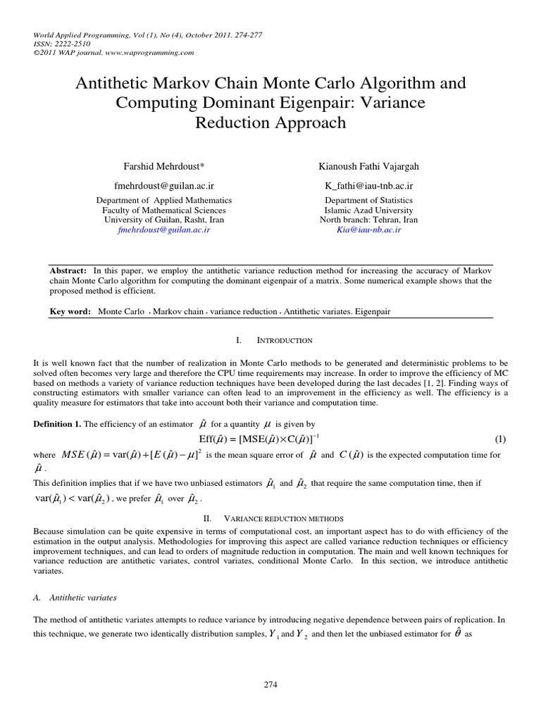 Antithetic Markov Chain Monte Carlo Algorithm and Computing Dominant